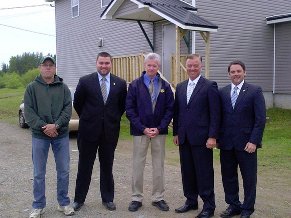 Ian Fortune, Matthew Sturgeon, Hal Muck, Hon. Paul Robichaud, MLA Jake Stewart at Blackville Outdoor Rink Facility