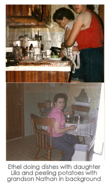 Ethel doing dishes with daughter Lila and peeling potatoes with grandson Nathan in background
