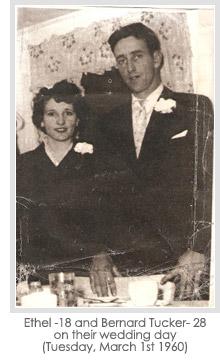 Ethel -18 and Bernard Tucker- 28 on their wedding day (Tuesday, March 1st 1960)
