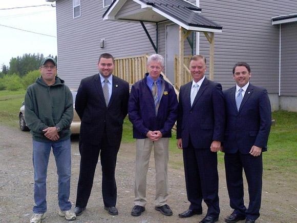 Ian Fortune, Matthew Sturgeon, Hal Muck, Hon. Paul Robichaud, MLA Jake Stewart at Blackville Outdoor Rink Facility