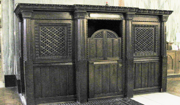 A confessional booth similar to the one in St. Raphael's church