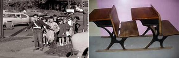 The picture of the school patrol boy, while not of a scene in Blackville, is quite accurate, showing the patrol boy belt that signified his authority to hold back young students from crossing the road until it was safe to do so.  The school desks shown are quite similar to the ones in my class rooms.