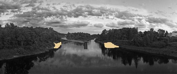 This is a picture of Doctor's Island as viewed from the bridge, taken years later, with the trees grown up and after the beaches had perhaps eroded away.  Doctor's Island can be seen upstream in the middle of the river.  The photo has been edited to roughly illustrate where the sandy beaches were on both sides of the river, with the old concrete abutment in the middle.  It was safe to swim at the beach on the left.  It was not safe to swim at the beach on the right.