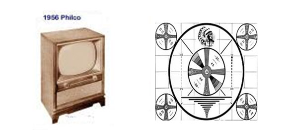A 1956 Philco floor model television, and the test pattern image.   If the picture on the TV appeared to be unnatural and distorted, then this test pattern channel picture could be used as a model to adjust the vertical or horizontal imaging of the picture