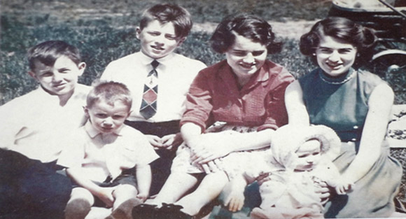 Leslie, sitting in front of Katharine, was just a baby then, at about nine months old.  Leonard, sitting in front of me and Johnny, was about three and a half.  Respectively, me, Johnny, Marjorie and Katharine were twelve, thirteen, fifteen and seventeen years old.