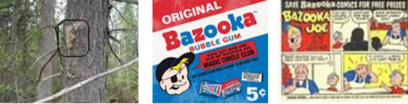 Spruce gum on the tree, and a package of Bazooka Joe bubble gum.  There was always a little comic strip joke folded up inside the Bazooka Joe gum wrapper.