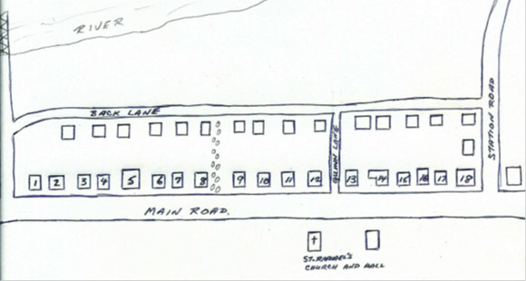 The above rough map illustrates the shortcut I took behind the houses between the Back Lane and the Main Road.