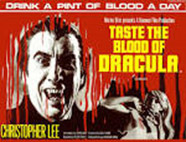 Blood dripping down the screen during the opening credits of the Dracula movie