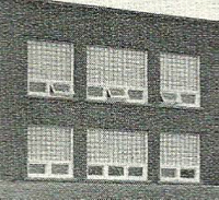 The above picture shows the glass block windows in my grade ten classroom on the second floor of the new brick school building