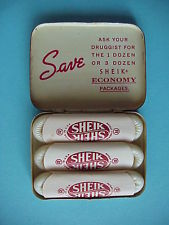 A package of three Sheiks condoms