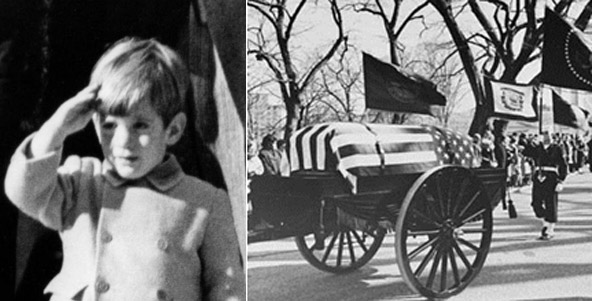 Little 'John-John' saluting his father's casket as it passed by in the 'caisson' funeral wagon