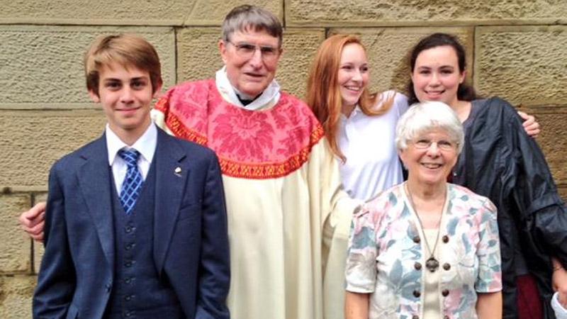 Father Richard Harris and his wife Maggie have three children, six grandchildren and three great-grandchildren. (Redmond Shannon/CBC)