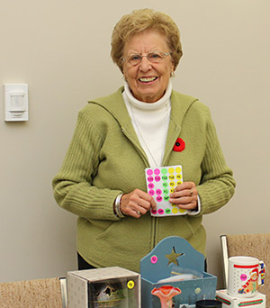Eleanor Donald of the Blackville Women's Institute, selling crafts and donated items at their annual craft sale